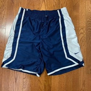 Nike Blue and White Athletic Basketball Shorts - L